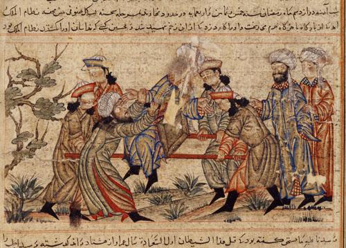 6. An agent (fida'i) of the Ismailis («Order of Assassins») (left, in white turban) fatally stabs Nizam al-Mulk in 1092
